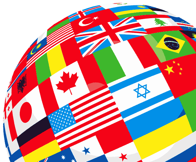 globe covered by country flags representing diverse representation