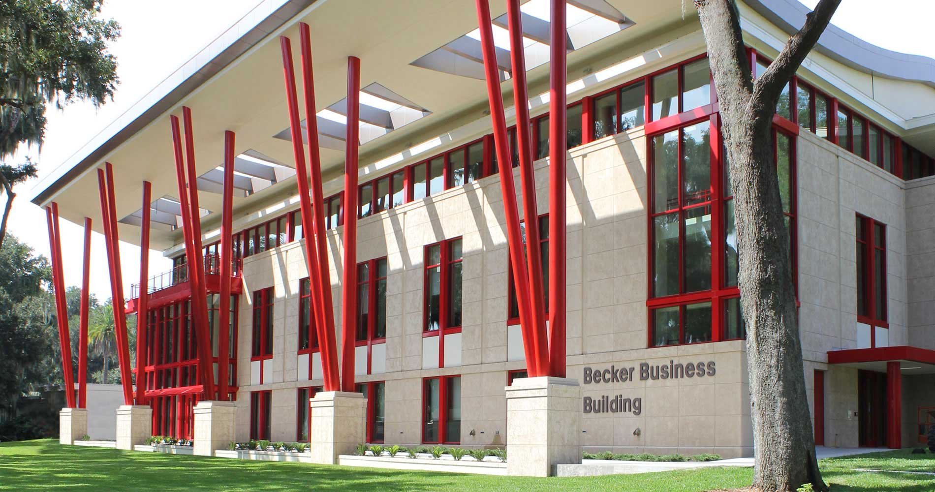 Photo of the outside of the Becker building