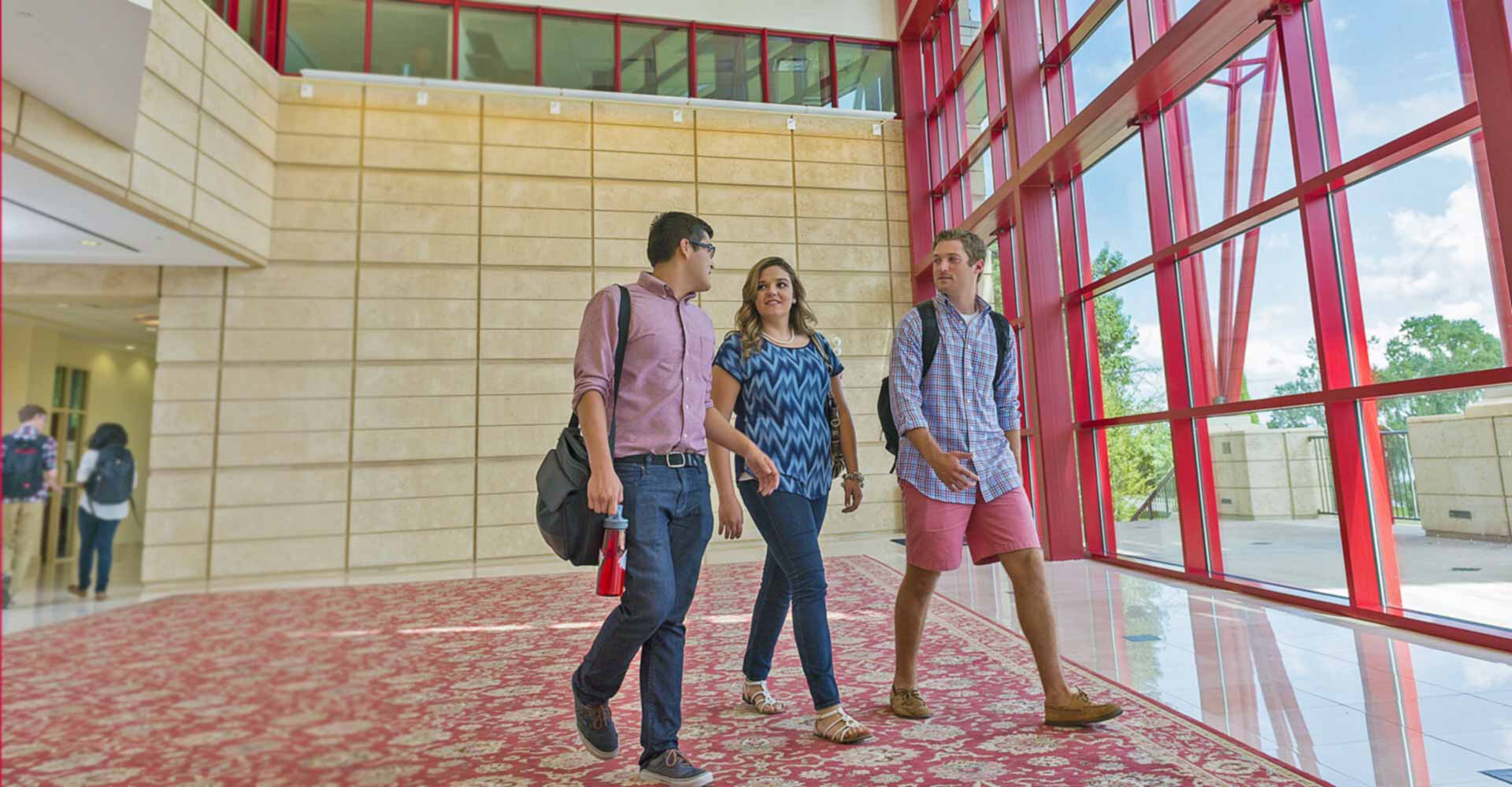 Students walking inside the Christoverson Humanities Building