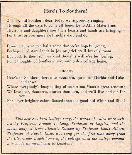 Here's To Southern, 1922