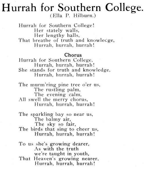 Hurrah for Southern College, 1911 Surf