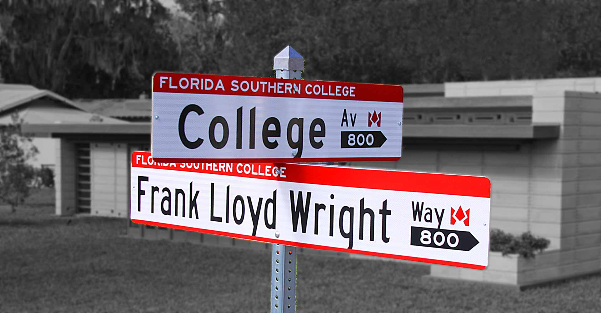 street sign on the corner of college avenue and frank lloyd wright way