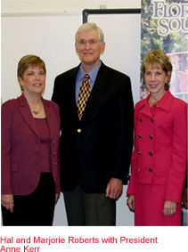 Hal and Marjorie Roberts with President Anne Kerr